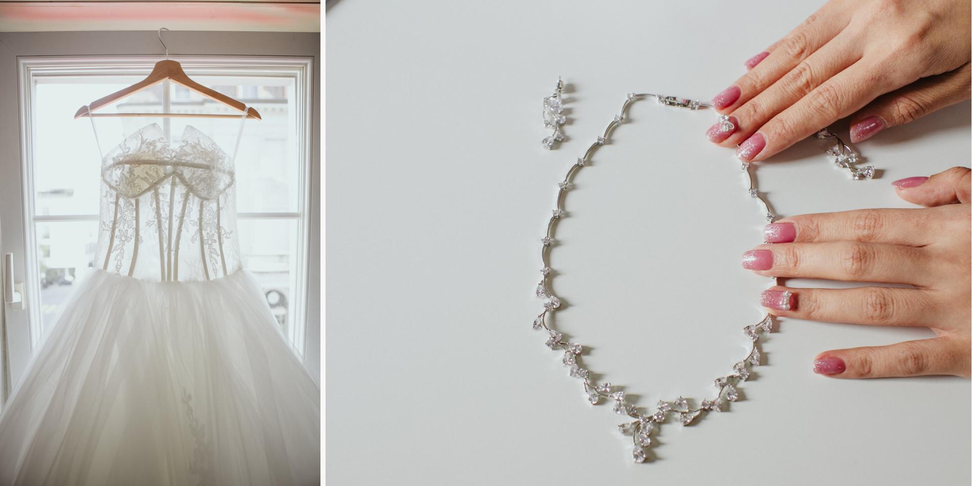Hochzeitsdetails - Brautkleid und Collier (Halskette)