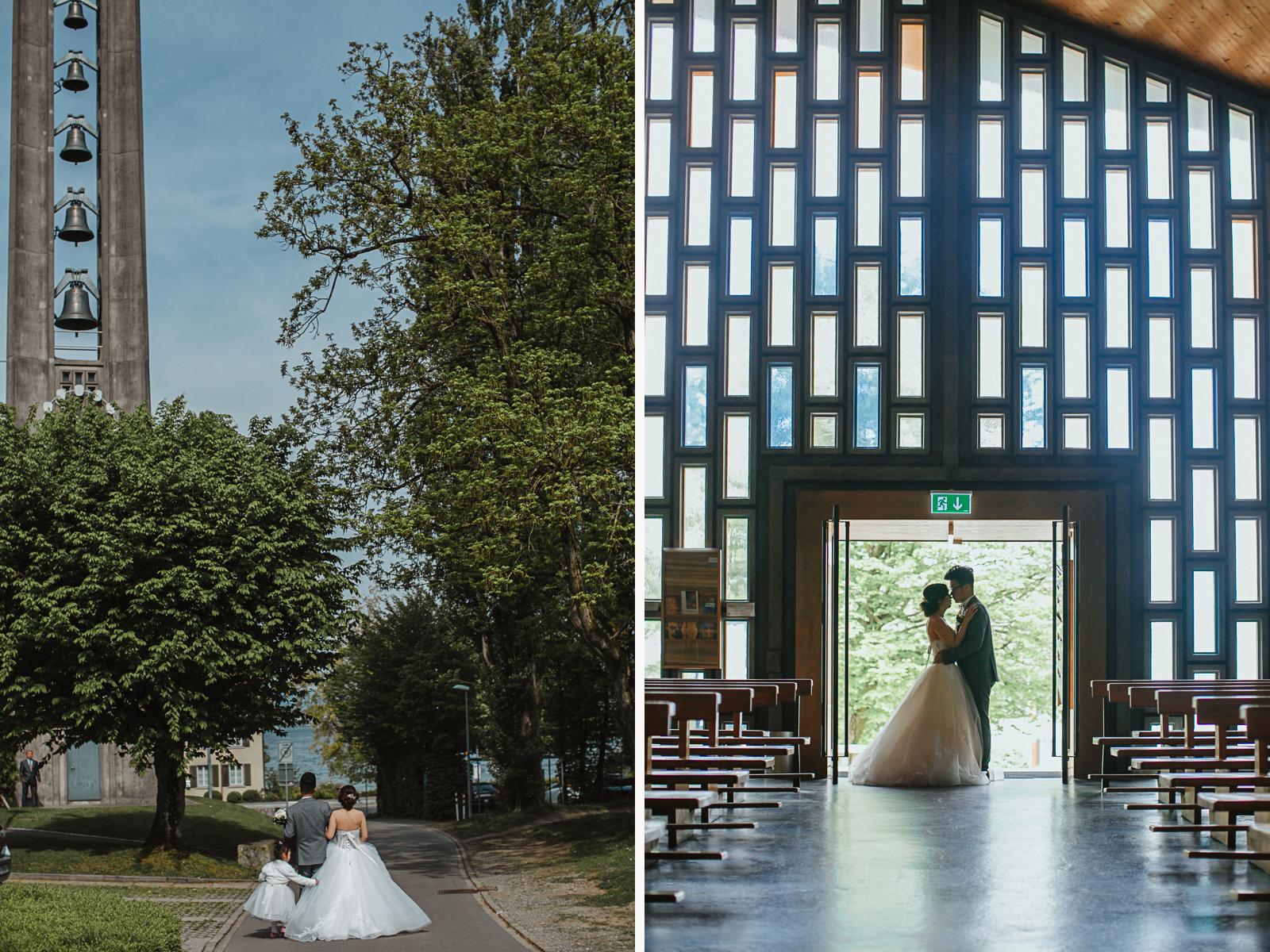 Aufnahmen des Brautpaars in und vor der Kirche