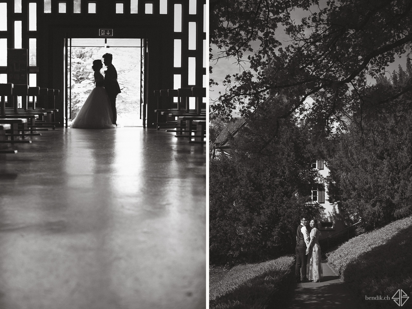 Schwarz-weiss Aufnahmen des Brautpaars